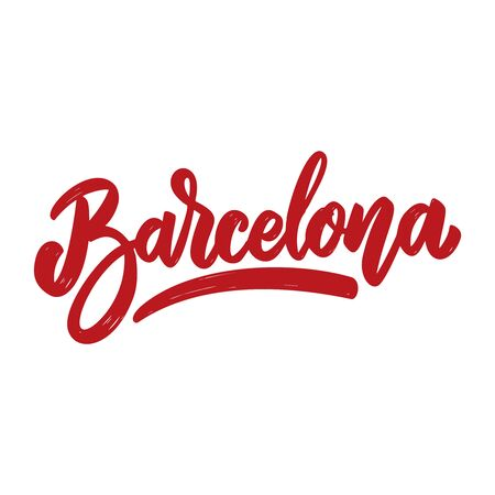 Barcelona. Lettering phrase isolated on white background. Design element for poster, card, banner, flyer. Vector illustration Иллюстрация