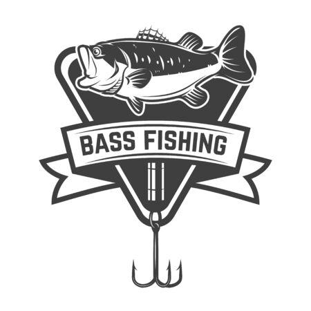 Bass fishing camp. Emblem template with perch. Illusztráció