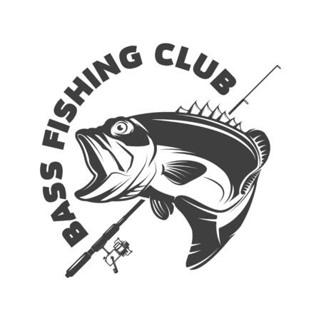 Bass fishing club. Emblem template with perch and fishing rod. Stock fotó - 138427016