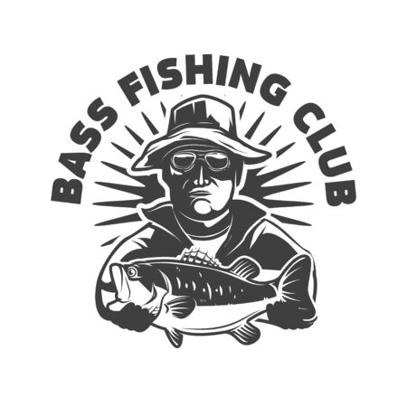 Bass fishing club. Emblem template with fisherman and perch.