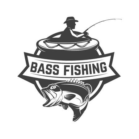 Bass fishing camp. Emblem template with fisherman. Design element for  label, sign, poster. Vector illustration