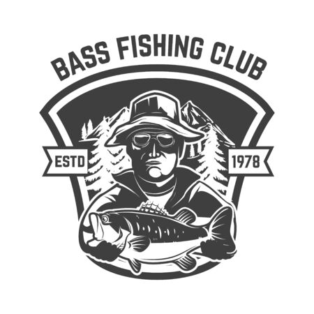 Bass fishing club. Emblem template with fisherman and perch. Design element for label, sign, poster. Vector illustration Stock fotó - 138427020