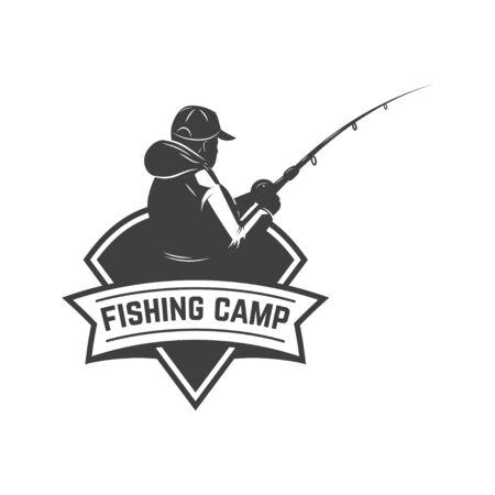 Fishing camp. Emblem template with fisherman. Design element for  label, sign, poster. Vector illustration Illusztráció