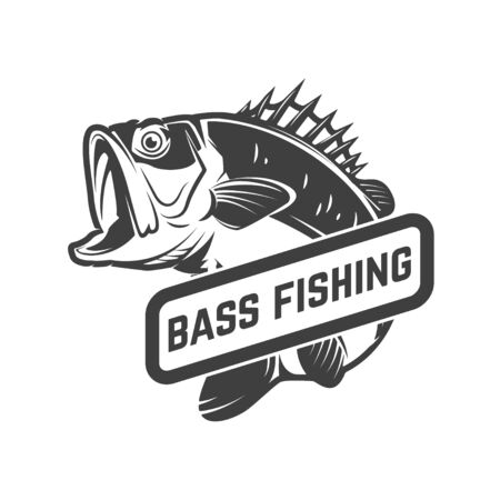 Bass fishing club. Emblem template with perch. Design element for label, sign, poster. Vector illustration