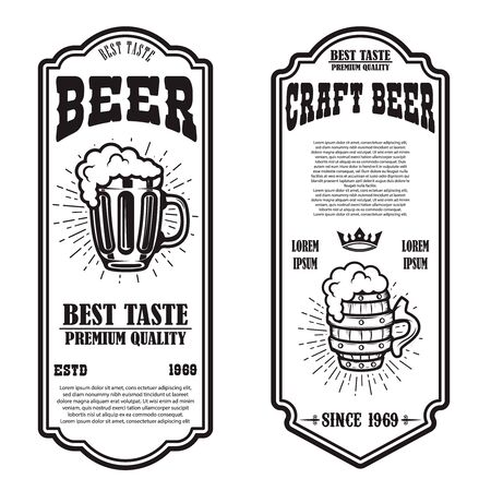 Set of beer flyers with beer mug illustrations. Design element for poster, banner, sign, emblem. Vector illustration