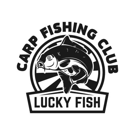 Carp fishing club. Emblem template with carp. Design element for label, sign, poster. Vector illustration
