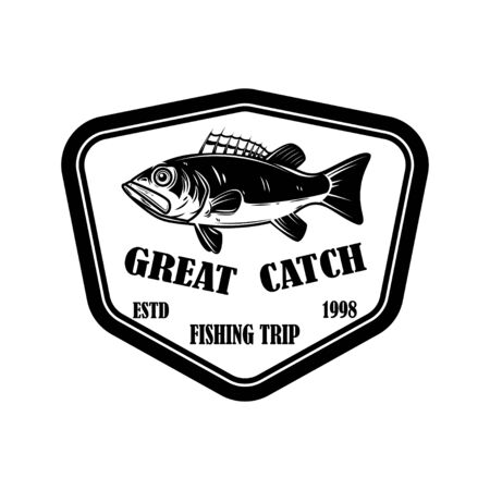 Great catch. Emblem template with perch. Design element for  label, sign, poster. Vector illustration