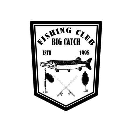 Fishing club. Emblem template with pike fish. Design element for  label, sign, poster. Vector illustration Stock fotó - 138427043