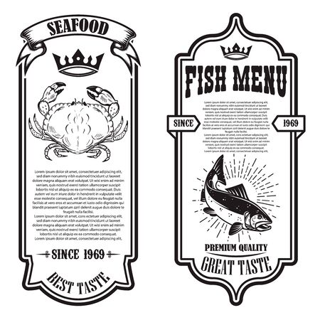 Set of seafood flyers with crab and fish illustrations. Design element for poster, banner, sign, emblem. Vector illustration