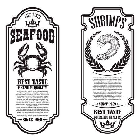 Set of seafood flyers with shrimp and crab illustrations. Design element for poster, banner, sign, emblem. Vector illustration