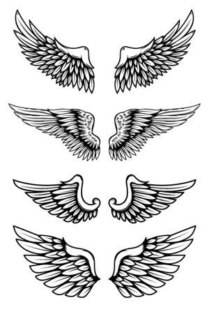 Conjunto de ilustraciones de alas en estilo tatuaje aislado sobre fondo blanco. Elemento de diseño de etiqueta, insignia, letrero. Ilustración vectorial
