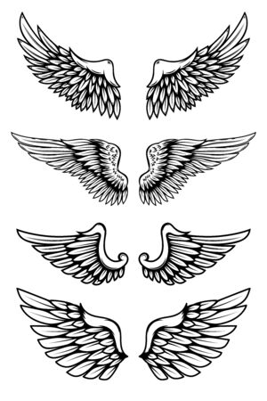 Set of illustrations of wings in tattoo style isolated on white background. Design element for label, badge, sign. Vector illustration