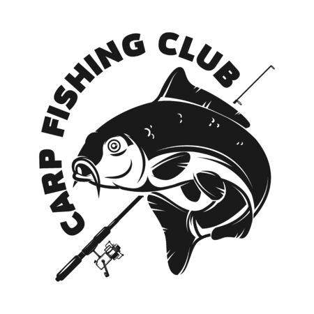 Fishing camp. Emblem template with carp fish. Design element for label, sign, poster. Vector illustration Vettoriali
