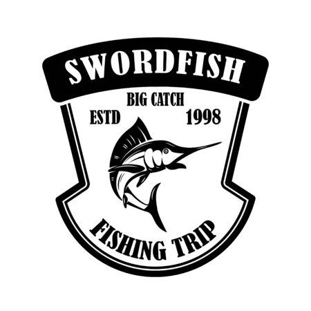 Swordfish. Fishing trip. Emblem template with marlin. Design element for label, sign, poster. Vector illustration