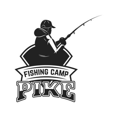 Fishing camp. Emblem template with fisherman. Design element for label, sign, poster. Vector illustration