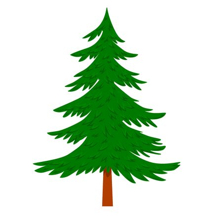 Illustration of pine tree in cartoon style isolated on white background. Design element for poster, banner, card, emblem. Vector illustration