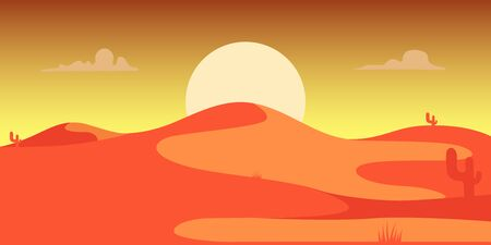 Desert landscape with cactuses and mountains in cartoon style. Design element for poster, card, banner, flyer. Vector illustration