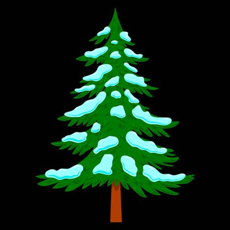Illustration of pine tree with snow in cartoon style isolated on white background. Design element for poster, banner, card, emblem. Vector illustration Foto de archivo - 139799918