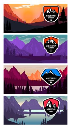 Set of banner templates with mountains. Design elements for poster, card, flyer, emblem. Vector illustration
