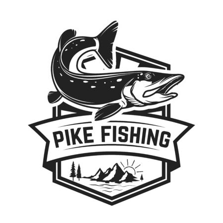 Fishing club. Emblem template with pike fish. Design element for logo, label, sign, poster. Vector illustration Logo