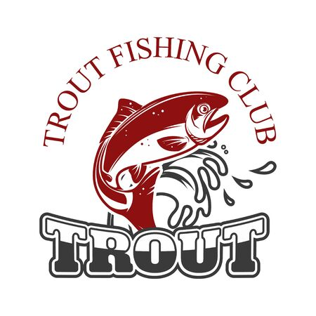 Trout fishing. Emblem template with trout fish. Design element for logo, label, sign, poster. Vector illustration 向量圖像