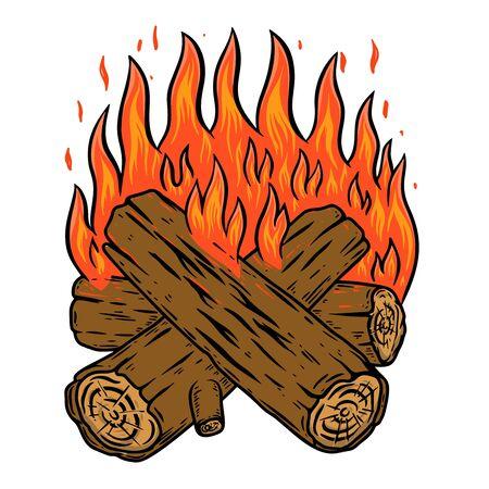 Illustration of campfire isolated on white background. Design element for poster, emblem, card, banner. Vector illustration