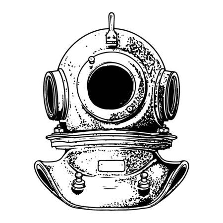 Vintage diver helmet in engraving style isolated on white background. Design element for logo, label, sign, poster. Vector illustration