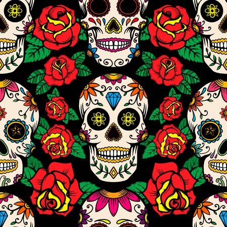 Seamless pattern with mexican sugar skulls and roses. Design element for poster, card, banner, clothes decoration. Vector illustration