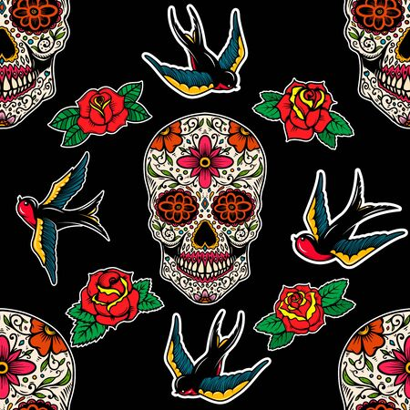 Seamless pattern with mexican sugar skulls, roses and swallows. Design element for poster, card, banner, clothes decoration. Vector illustration