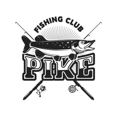 Pike fishing. Emblem template with pike fish. Design element for logo, label, sign, poster. Vector illustration