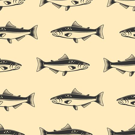 Seamless pattern with salmons. Seafood pattern. Design element for poster, card, banner, flyer. Vector illustration Vector Illustratie