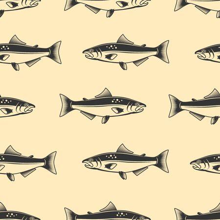 Seamless pattern with salmons. Seafood pattern. Design element for poster, card, banner, flyer. Vector illustration Vektorové ilustrace
