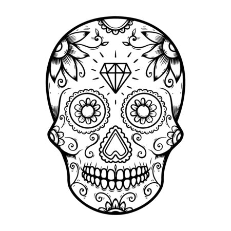 Illustration of mexican sugar skull. Design element for poster, logo, label, design. Vector illustration Logó