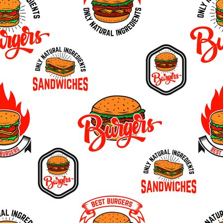 Seamless pattern with burgers. Design element for poster, card, banner, clothes decoration. Vector illustration