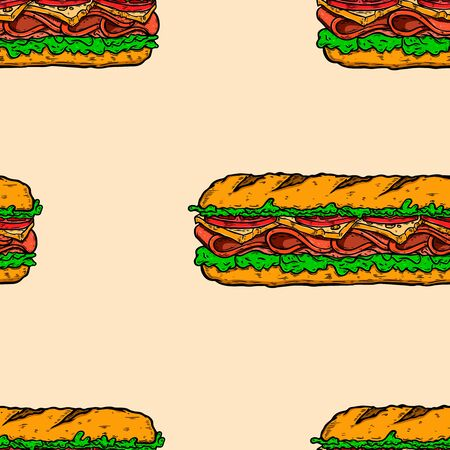 Seamless pattern with submarine sandwiches . Design element for poster, card, banner, flyer. Vector illustration