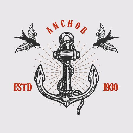 Illustration of vintage anchor with swallows in engraving style.