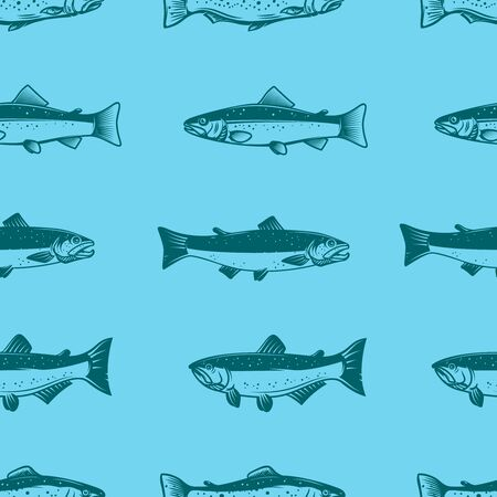 Seamless pattern with salmons. Seafood pattern. Design element for poster, card, banner, flyer. Vector illustration
