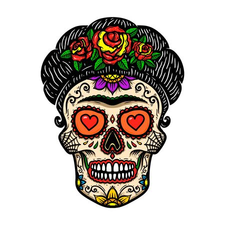 Vintage mexican woman skull isolated on white background.