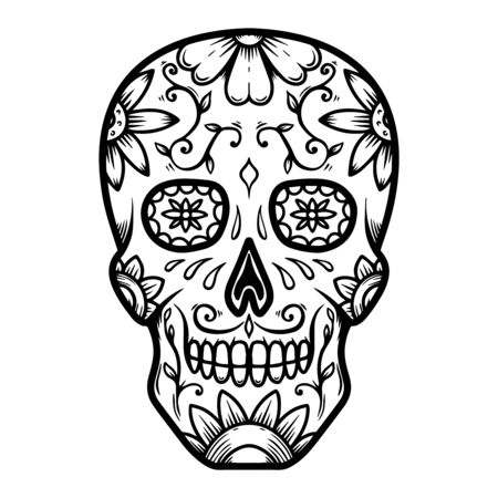 Vintage mexican sugar skull isolated on white background. Vektoros illusztráció