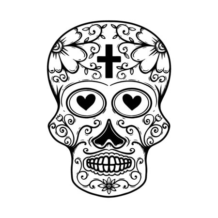 Vintage mexican sugar skull isolated on white background.