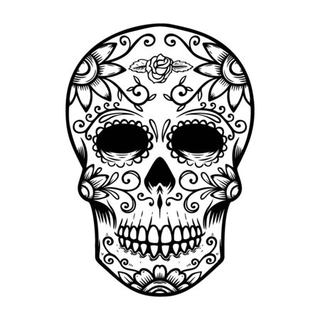 Vintage mexican sugar skull isolated on white background. Day of the dead theme. Vettoriali