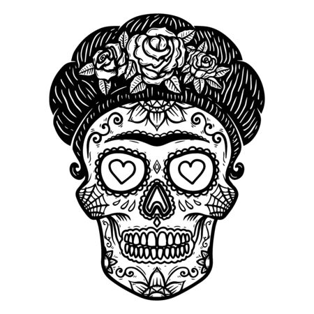 Vintage mexican woman skull isolated on white background. Design element for label, sign, poster. Vector illustration