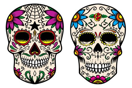Set of vintage mexican sugar skull isolated on white background. Design element for label, sign, poster. Vector illustration Vektoros illusztráció