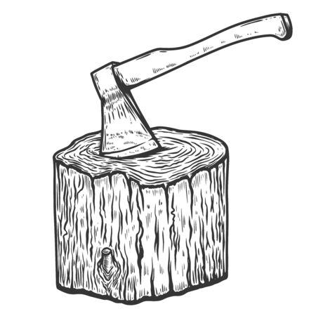 Illustration of lumberjack ax in a wooden deck in engraving style. Design element for emblem, sign, poster, card, banner, flyer. Vector illustration