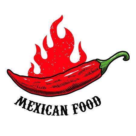 Mexican food. illustration of chili pepper in engraving style. Design element for label, sign, emblem, poster. Vector illustration