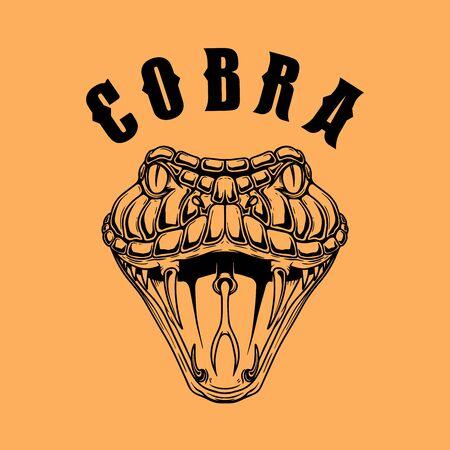 Illustration of cobra snake. Design element for  label, sign, emblem, poster. Vector illustration