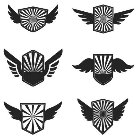 Set of emblems with wings. Design element for label, emblem, sign, badge. Vector illustration