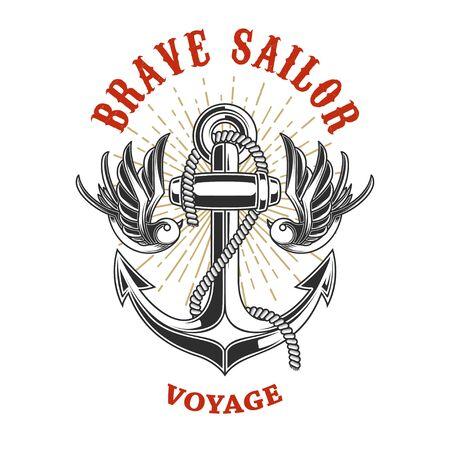 Illustration of vintage anchor with swallows in engraving style. Vektoros illusztráció