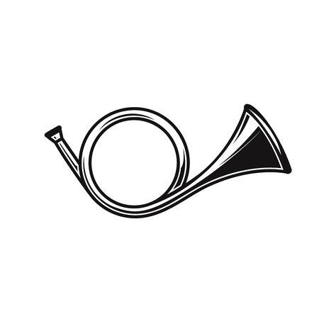 Illustration of hunting horn in engraving style. Design element for label, sign, poster, t shirt. Vector illustration