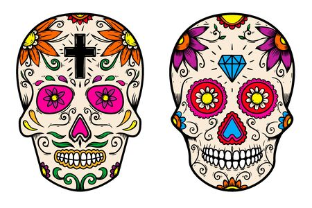 Set of vintage mexican sugar skull isolated on white background.